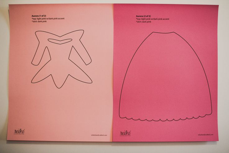 8.5 x 11 inch paper dress template for Aurora from Disney's Sleeping Beauty