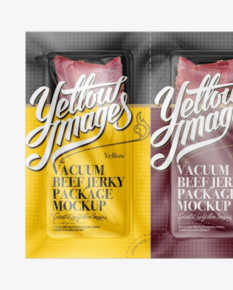 Vacuum Beef Jerky Package Mockup - Front View (Close-Up)