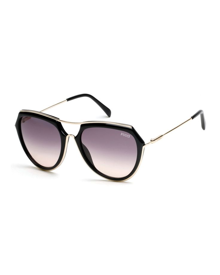 Large Aviator Sunglasses, Black - Emilio Pucci