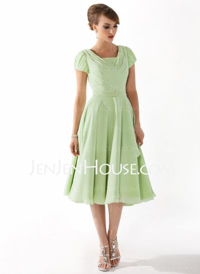 Mother of the Bride Dresses - $116.49 - A-Line/Princess Square Neckline Tea-Length Chiffon Mother of the Bride Dress With Ruffle Beading (008005918) http://jenjenhouse.com/A-Line-Princess-Square-Neckline-Tea-Length-Chiffon-Mother-Of-The-Bride-Dress-With-Ruffle-Beading-008005918-g5918