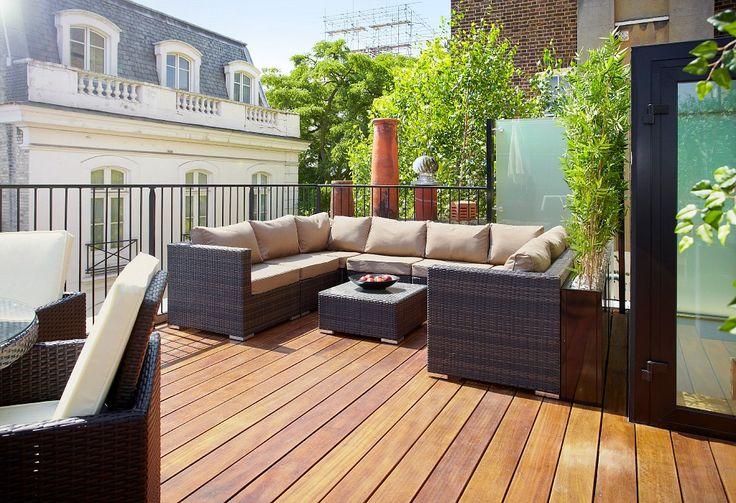 Roof terrace in a luxury home in Belgravia, London by property developers Landmass London