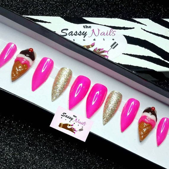 Hey, I found this really awesome Etsy listing at https://www.etsy.com/listing/491562068/ice-cream-nails-press-on-nails-glue-on