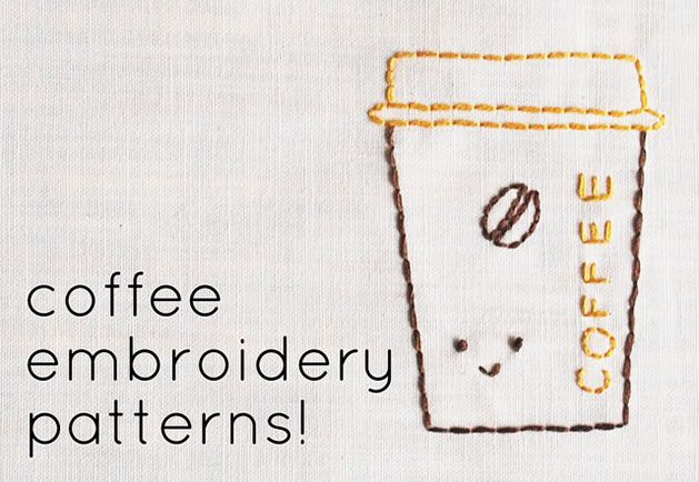 Mollie at Wild Olive is celebrating coffee this week with all kinds of brew-related projects and inspiration. She's offering up a set of very fun and free coffee embroidery patterns as part of the celebration. My personal favorite design is the commercial coffee pot. It makes me think of Flo on Alice, which I'm hoping is not dating me too terribly much.