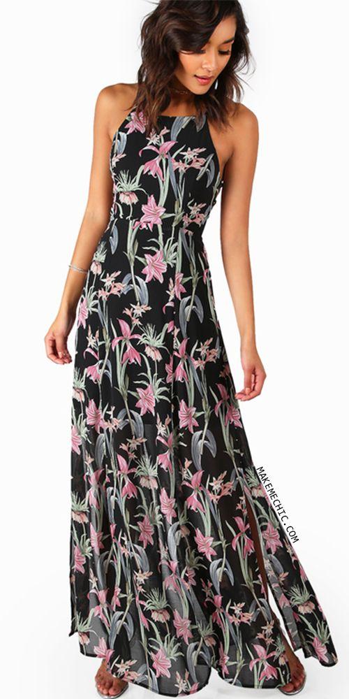 Florals Crisscross Lace Up Back Maxi Dress