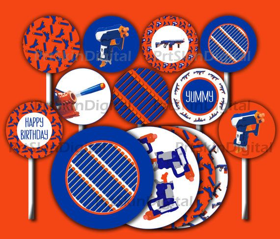 Nerf Party Supplies Nerf Cake Topper Orange Blue by PrtSkinDigital
