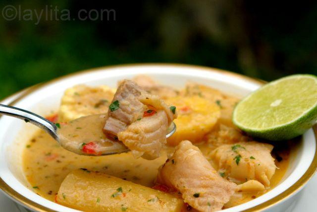 El viche o biche de pescado es una sopa ecuatoriana que se prepara con pescado, mani, yuca, platanos maduros, choclos, entre otras verduras y condimentos.