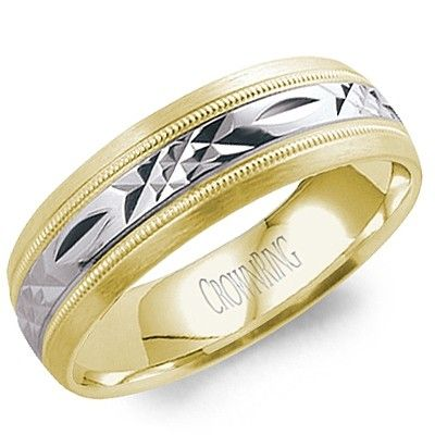 Stunning Classic Yellow Gold with a Diamond Cut White Gold Inlay