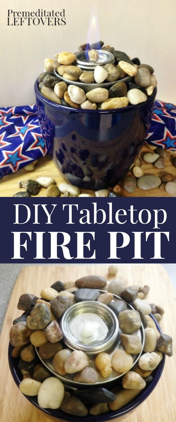How to Make a Tabletop Fire Pit with a planter, rocks, and a chafing fuel cup. Use this easy tutorial to make a mini tabletop fire pit for summer parties. DIY party decor idea. Easy outdoor crafts project.