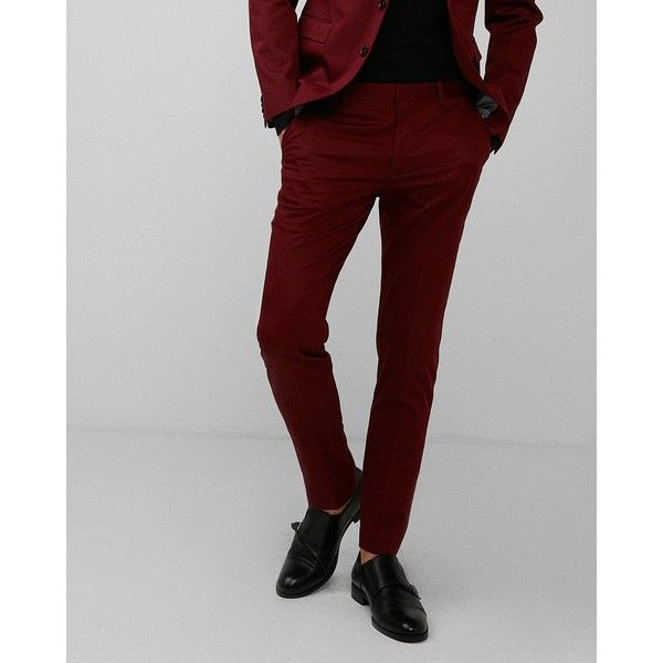 Express Extra Slim Red Cotton Sateen Suit Pant ($98) ❤ liked on Polyvore featuring men's fashion, men's clothing, men's pants, men's dress pants, red, mens zipper pants, mens red pants, mens stretch dress pants, men's 5 pocket pants and mens red dress pants