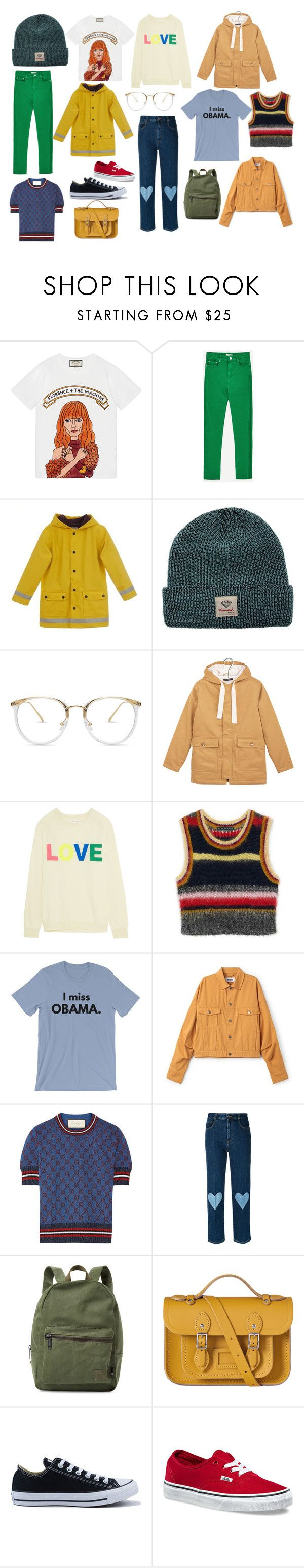 """Yaaasss"" by sofiastyledlife on Polyvore featuring Gucci, Diamond Supply Co., Petit Bateau, Chinti and Parker, STELLA McCARTNEY, Herschel Supply Co., The Cambridge Satchel Company, Converse and Vans"