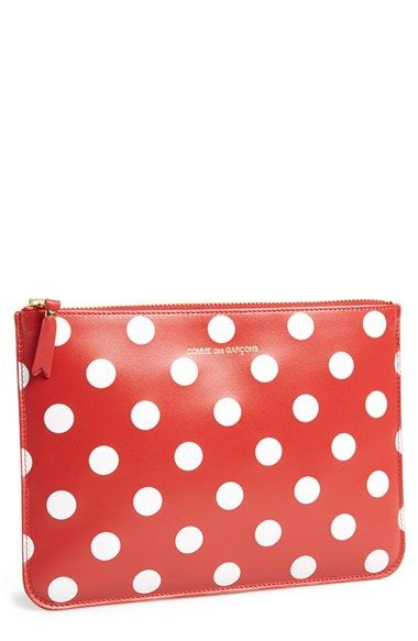 Comme des Garçons 'Large Polka Dot' Leather Zip-Up Pouch available at #Nordstrom