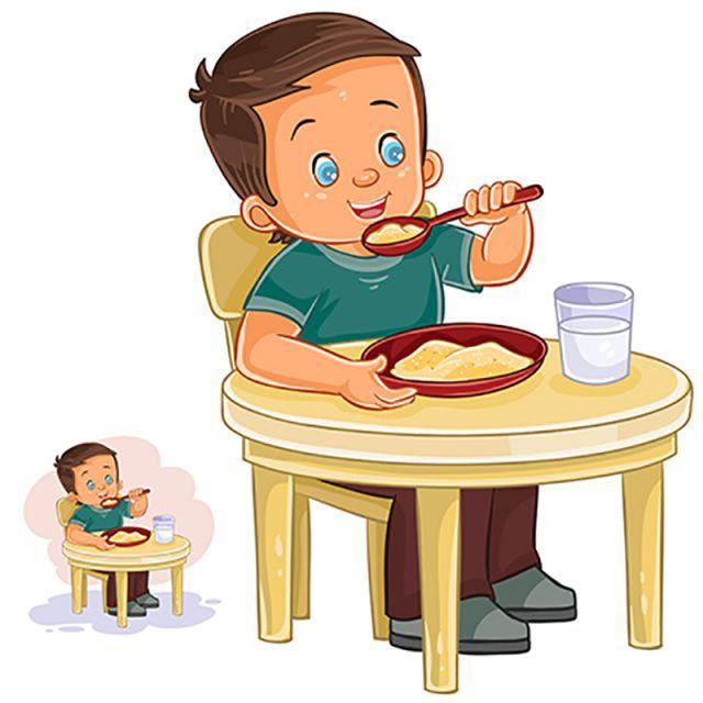 التوضيح النواقل من ولد صغير تناول الإفطار People Illustration Little Boys Boys