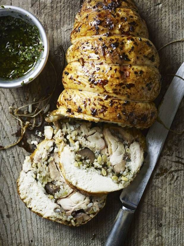 Chicken with garlic and chestnut stuffing   Gordon Ramsey