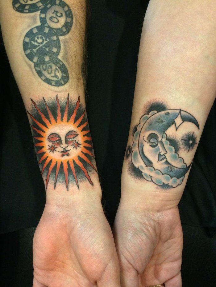 1001 Versions Fantastiques Du Tatouage Lune Et Soleil Sun And