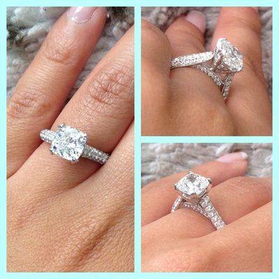 Diamond Pave Ring Tiffany | Micro Pave Diamond Engagement ring, Cushion Cut Diamond Center | Yelp