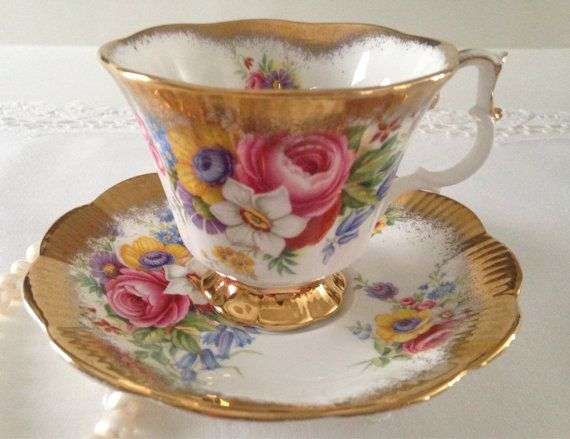 Royal Albert Gold Crest Series China Tea Cup by TheEclecticAvenue