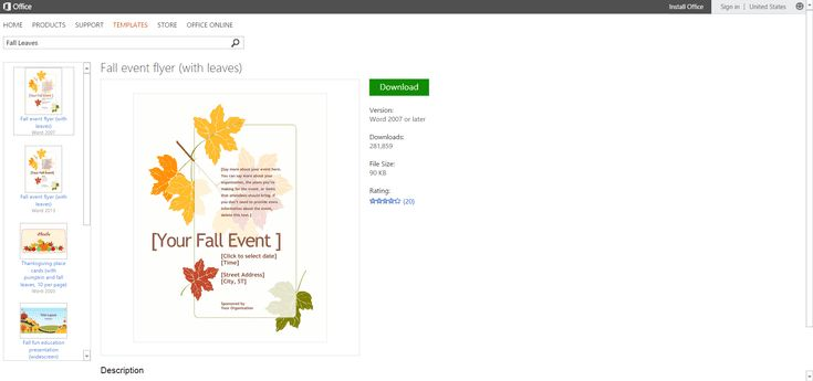 Free Autumn-themed Printables or Templates for Microsoft Office: Fall Leaves Event Flyer Template or Printable for Microsoft Word
