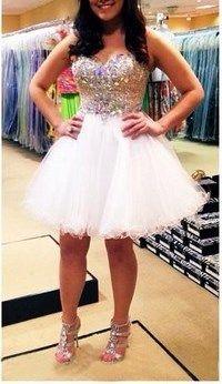 2016 Custom Rhinestone Homecoming Dress, Sweetheart Sexy Prom Dress, Beading Evening Dress,Mini prom Dress,Tulle Party Dress