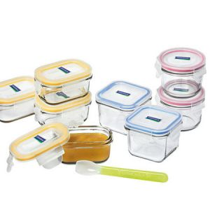 High quality glass baby food storage containers with easy open and clip shut BPA free plastic lid.  Includes a reusable silicone baby feeding spoon. Leak-proof.  Set of 9 pieces.