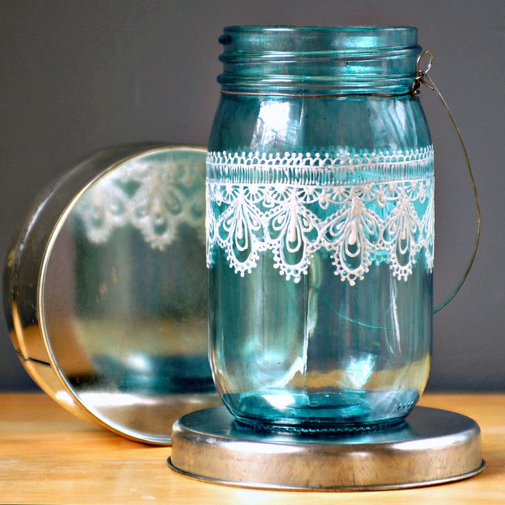 Hand Painted Mason Jar Moroccan Lantern Ocean Blue Glass With Pearl White Embellishment
