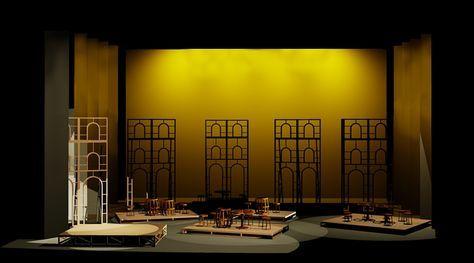 """Boceto para Acto II """"Carmen"""" Ópera de Bizet Diseño de Escenografía y vestuario: Natalia Kravetz. Ejercicio de diseño de la universidad."""