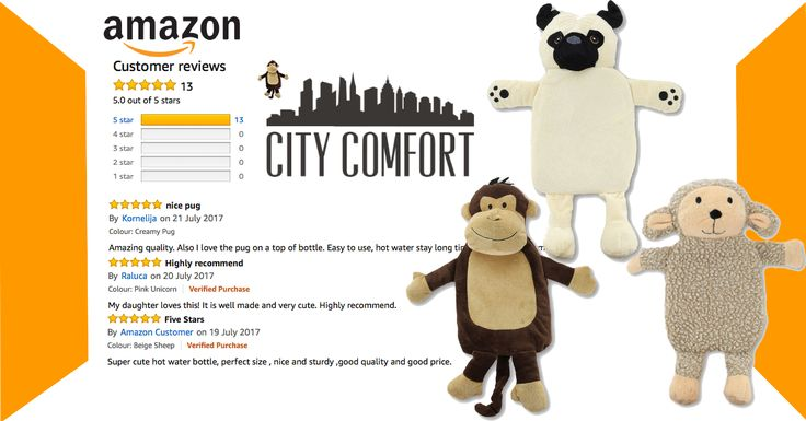 Hot Water Bottle with Unicorn Pug Monkey Plush Super Soft Cover... › Customer reviews