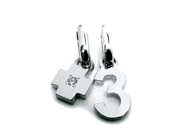 pt900 platinum number 3 pendant charms with birth stone cross charm ナンバー 3 数字 プラチナ 誕生石チャーム all numbers on official online shop(0-9)