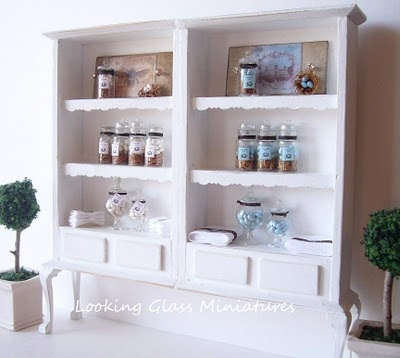 Shabby Chic Wall Unit displaying bath soaps and products. A dream for my bathroom.
