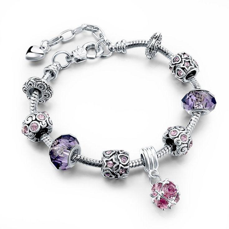 Crystal & Glass Beads Charm Bracelet – Alashia's Closet