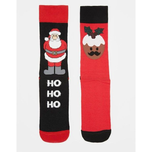 ASOS 2 Pack Socks With Fluffy Christmas Design ($5.63) ❤ liked on Polyvore featuring men's fashion, men's clothing, men's socks, multi and mens christmas socks