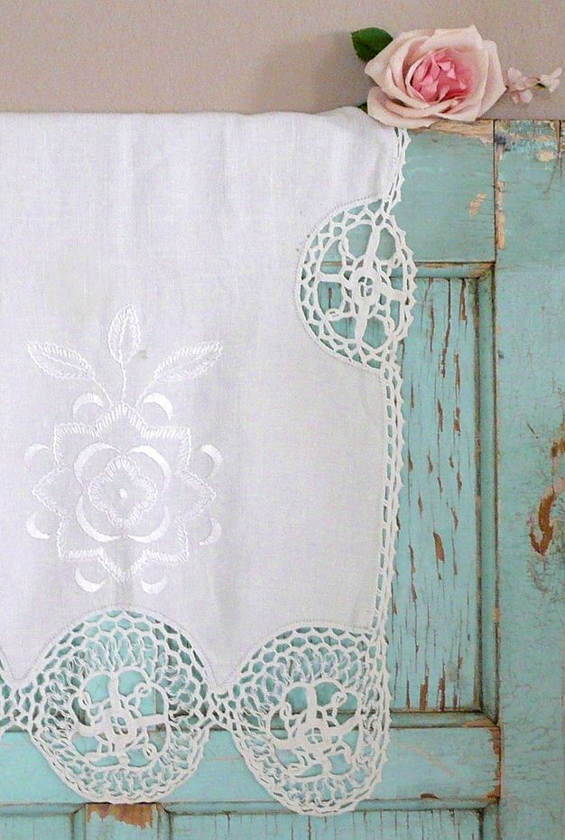 .hang a vintage material over the top of an old door for a beautiful shabby chic/cottage chic look