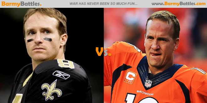 Drew Brees vs Peyton Manning Who among this two all time great players are the best quarterback in this generation? CLICK HERE TO VOTE: http://www.barmybattles.com/2014/03/14/drew-brees-vs-peyton-manning/
