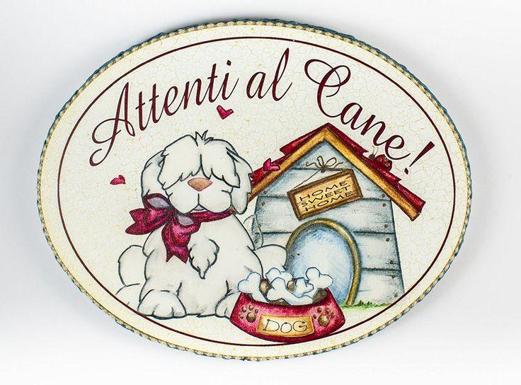 """targhetta ovale """"attenti al cane"""" idea regalo, artigianato italiano, made in Italy: Amazon.it: Casa e cucina"""