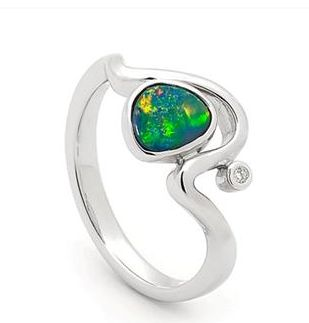 Sterling Silver Light Opal Doublet Clean and refreshing - for those who value style through simplicity. 1 stone Free Form 0.53ct appox 1 diamond Clean and refreshing - for those who value style through simplicity. #opalsaustralia