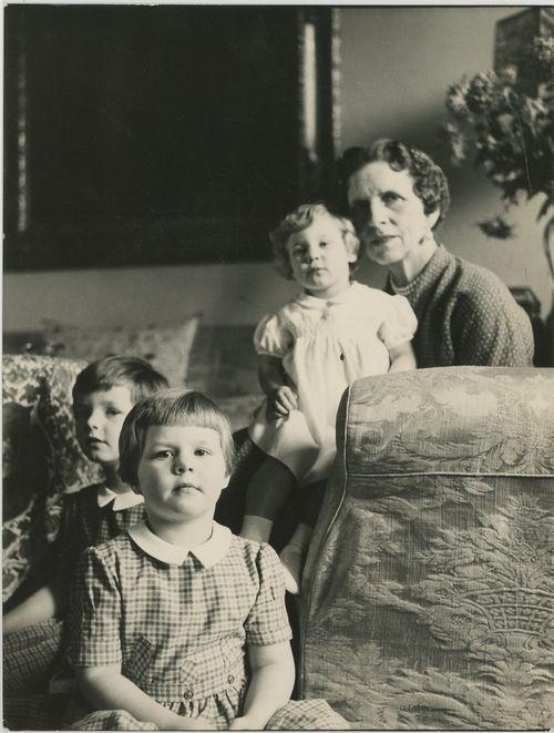 Regina  Elena of Romania with grandaughters Margareta, Elena and Irina
