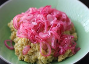 Mangú - Dominican boiled plantains and pickled red onion