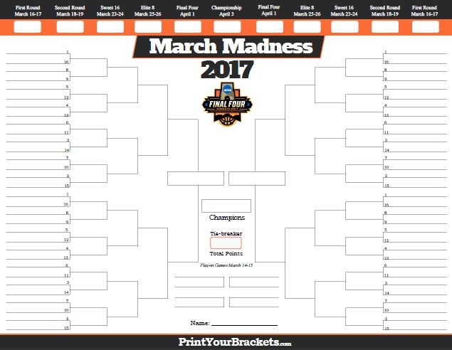 2017 NCAA March Madness Tournament Bracket - Printable