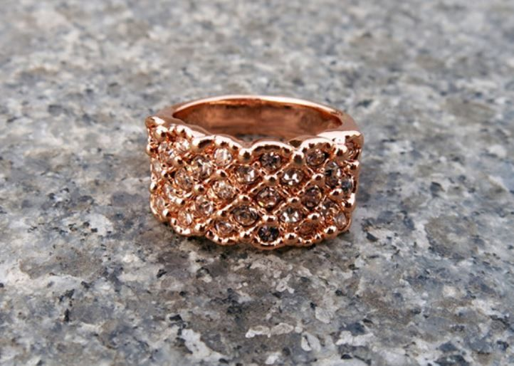Cubic Scales Ring Brass Size (no.15) Rose Gold Color 1pc #Unbranded