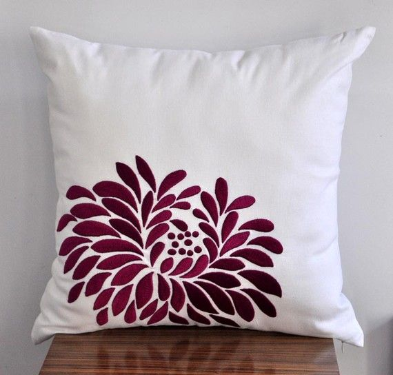 Purple Throw Pillow Cover, Linen White Purple Dahlia Flower, Embroidered…