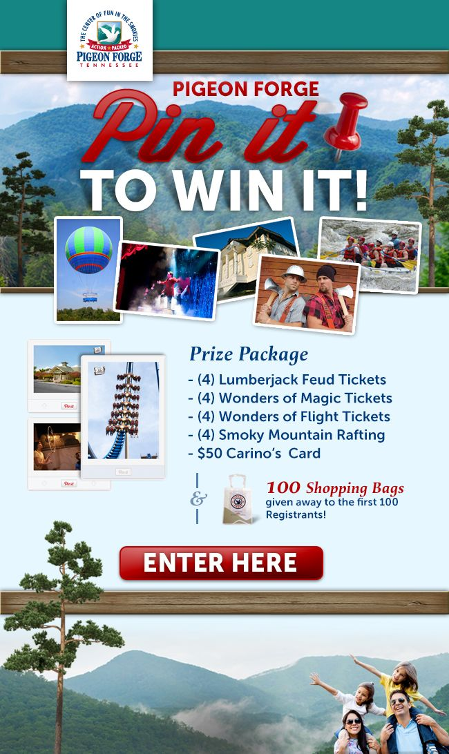 #Pin2Win prizes from the Pigeon Forge Department of Tourism! Visit http://www.mypigeonforge.com/pinterest/?ucid=MS2013-000313 to find out how you could win these #PigeonForge prizes.
