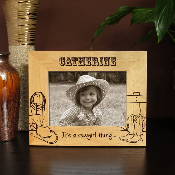 """Design's """"Cowboy or Cowgirl"""" Picture Frame with Font Selection (Select Size, Design, and Frame Orientation) - pinned by pin4etsy.com"""