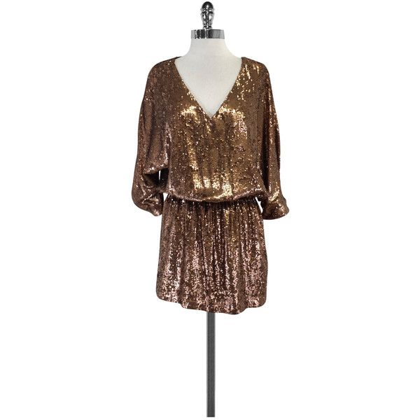 Pre-owned Haute Hippie Bronze Sequin Dress ($269) ❤ liked on Polyvore featuring dresses, bronze, brown sequin dress, v neck 3/4 sleeve dress, v neck dress, a line dress and 3/4 sleeve dresses