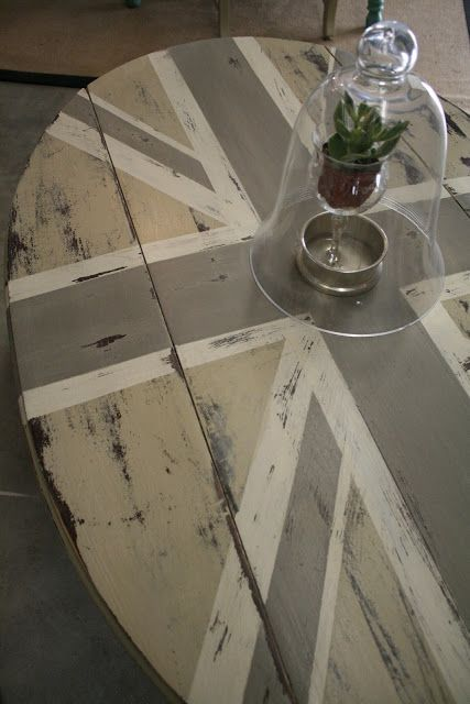 Another Union Jack transformation with Annie Sloan chalk paint and I LOVE this version of neutral paints! (Country Gray, Old White and French Linen)  Inspiration city on this site:  Loot: Chalk Paint® Gallery