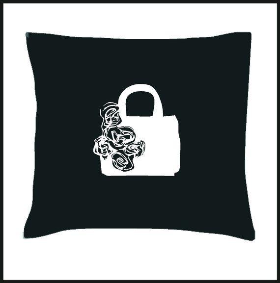 Vintage Flower Handbag Cushion Cover by Pokkki on Etsy,