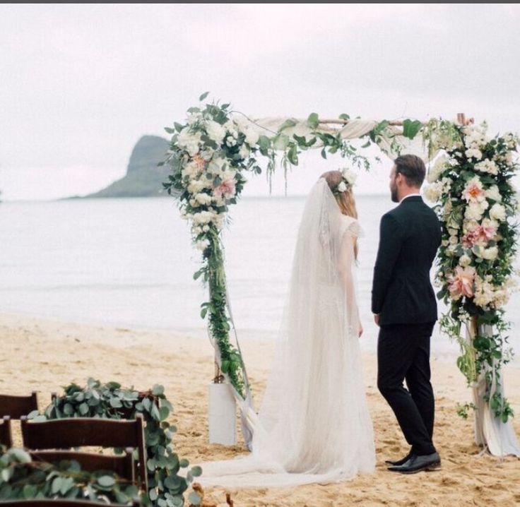 Waikiki Beach Wedding Ceremony: Secret Beach Ceremony By Weddings@kualoa Ranch Flowers By