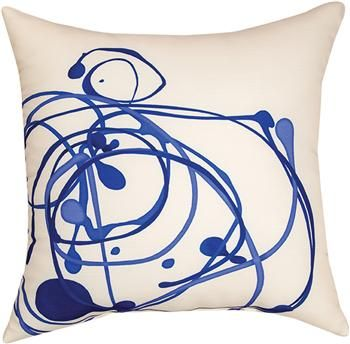 """SLSBDZ 18"""" x 18"""" Shades of Blue Drizzle Pillow                                                        contemporary"""