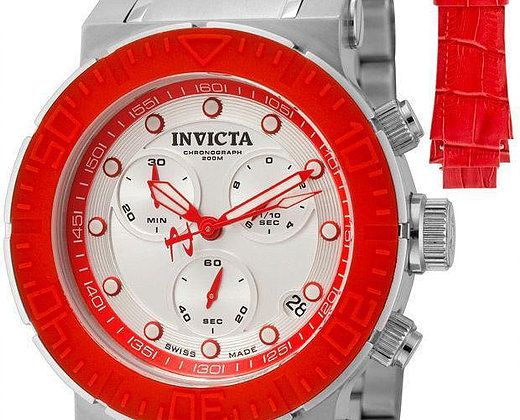 Invicta Watches for Sale: Invicta 10930 Ocean Reef Swiss Chronograph Watch - Extra Red Leather Strap