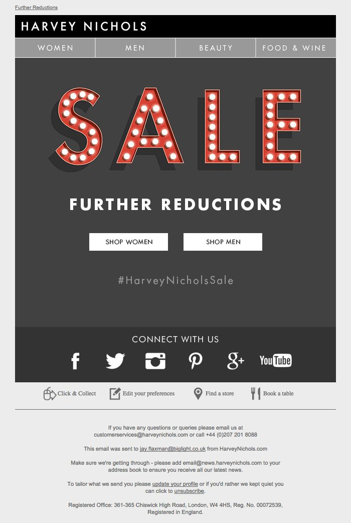 Harvey Nichols Sale // email design / gif / animated / lights