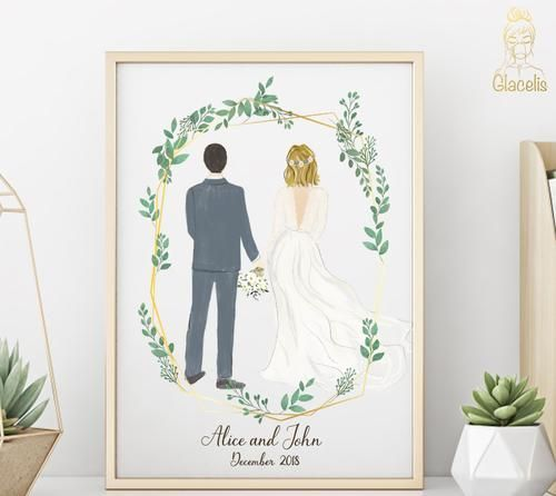 Personalized Couple Wedding Art In 2020 Diy Wedding Gifts