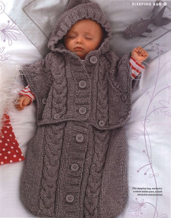 PDF Knitting Pattern for a Baby's Sleeping Bag/Sack or Cocoon in Chunky Wool - Instant Download